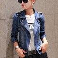 Мода женщин джинсовой куртке женщина свободного покроя уменьшают джинсовая куртка с длинным рукавом молния джинсовые пальто пиджаки женская одежда Большой размер S-XXL