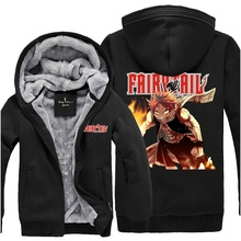 Thick Hoody 2017 Fairy Tail COS Coral Fleece Thick Winter Hooded Hoodies Zipper Cardigan  Sweatshirt for Male/Female