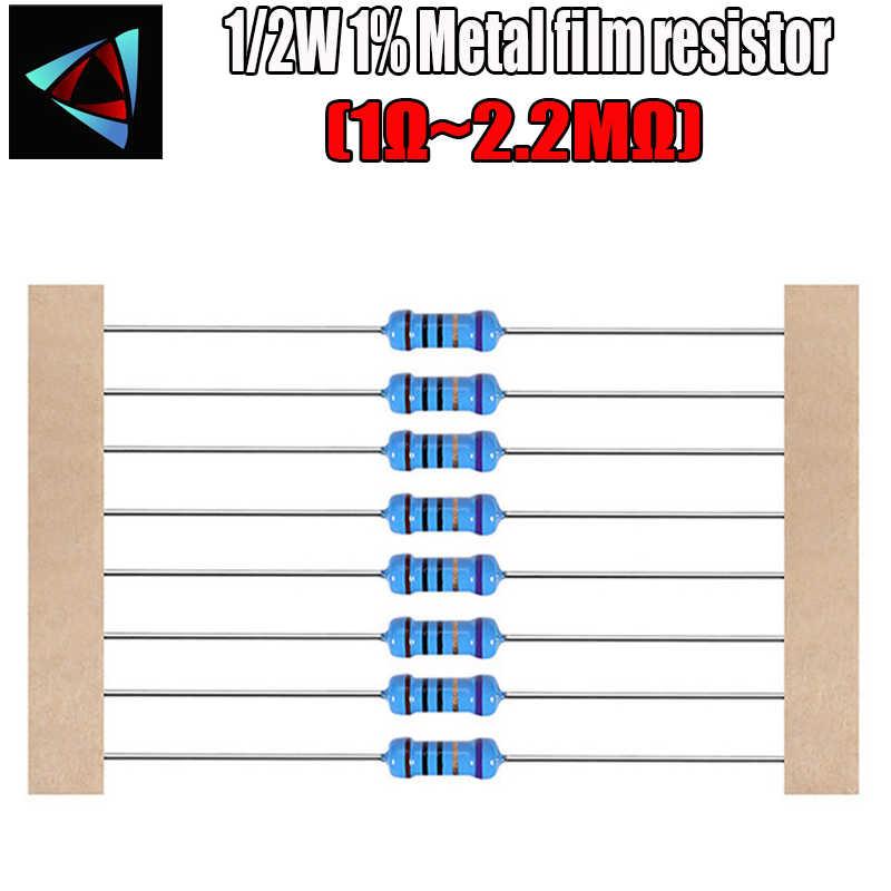 50 uds/1/2 W resistencia de película de Metal 1% 1R ~ 2,2 M 1 2 10 22 47 100 330 ohm 1K 4,7 K 10K 22K 47K 100K 330K 470K 2R 10R 22R 47R 100R 330R