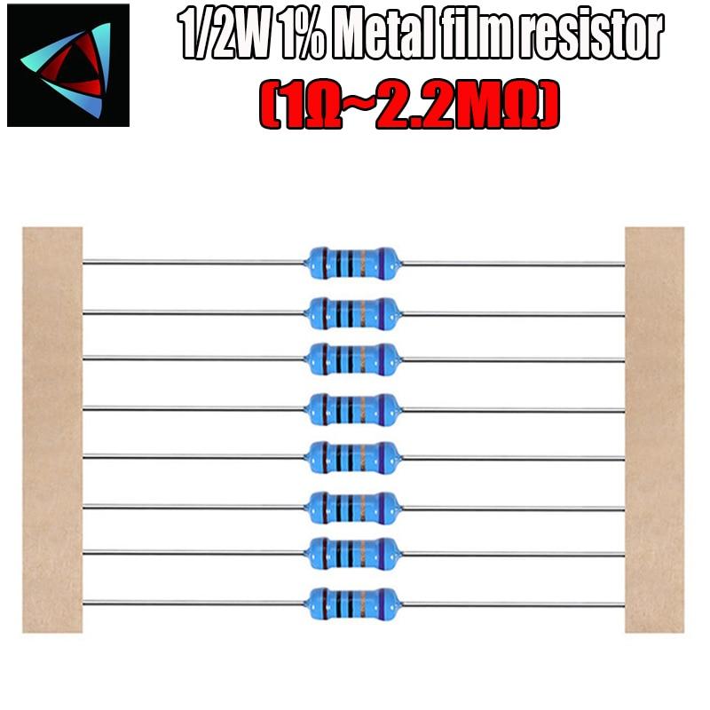 50pcs 1/2W Metal Film Resistor 1% 1R ~ 2.2M 1 2 10 22 47 100 330 Ohm 1K 4.7K 10K 22K 47K 100K 330K 470K 2R 10R 22R 47R 100R 330R
