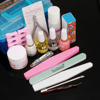 NAIL ART BASE TOOL With Storage Box Nail Art Care Oil Durable Buffing Grit Sand Block nail polish kit Manicure Set #38