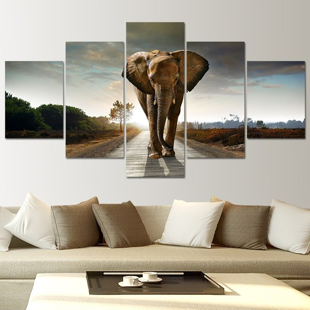 5 Piece Canvas Wall Art Elephant Pictures Landscape Large Wall ...