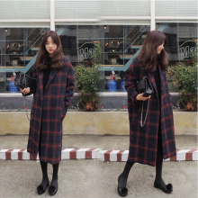 2016 new women's autumn and winter woolen coat Korean version of a long paragraph thick knee loose fashion tartan coat child