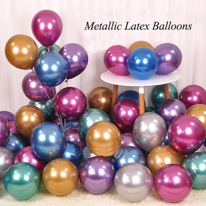 12Inch Balloon New Chrome Metallic Latex Balloons Thick Metallic Globos Inflatable Helium Baloon birthday party decorations kids