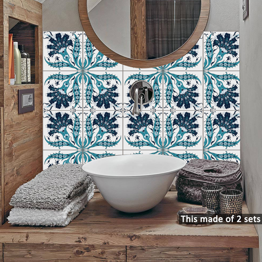 Funlife Self Adhesive Wall decal Itely Majolica Tiles Bathroom ...
