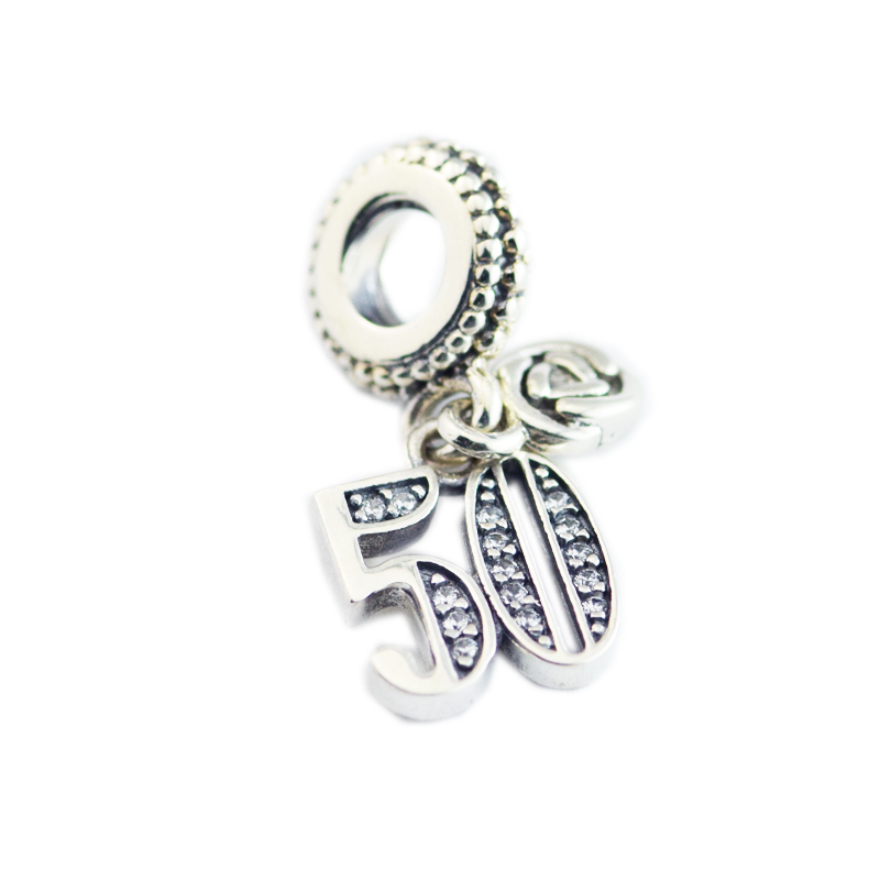 DIY Beads Charms Silver 925 Original Bracelet Sterling-Silver-Jewelry 50 Years of Love Bead for jewelry making Berloque Perles