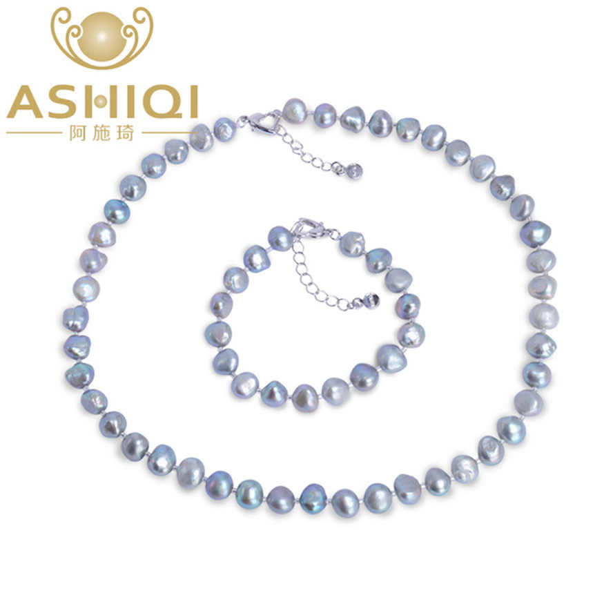 ASHIQI Baroque Natural pearl Jewelry Sets Real Gary Black Freshwater pearl Necklace Bracelet for women New Arrival