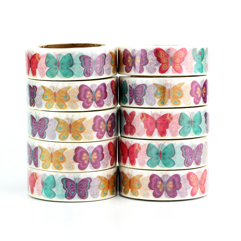 High Quality 10pcs/lot Cute Colorful Butterfly Washi Tape DIY Decor Scrapbooking Planner Adhesive Masking Tape Kawaii Stationery