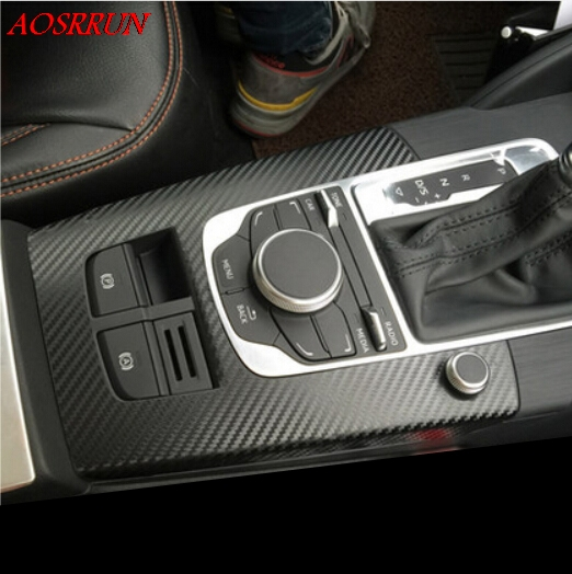 Carbon fiber sticker Car gear shift frame decorative stickers interior Accessories gearbox sticker for <font><b>Audi</b></font> <font><b>A3</b></font> 2013 2014 <font><b>2016</b></font> image
