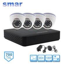 Smar Système Home Security Camera CCTV Autonome Kit 4 Canaux CCTV HVR DVR NVR AHD DVR 4 pcs 700TVL Infrarouge Caméra Dôme Intérieure