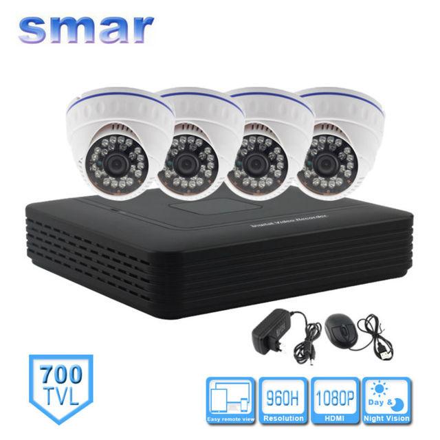 Smar cctv sistema de câmera de segurança em casa kit de 4 canais cctv autônomo HVR DVR NVR AHD DVR 4 pcs 700TVL Infravermelho Câmera Dome Interior