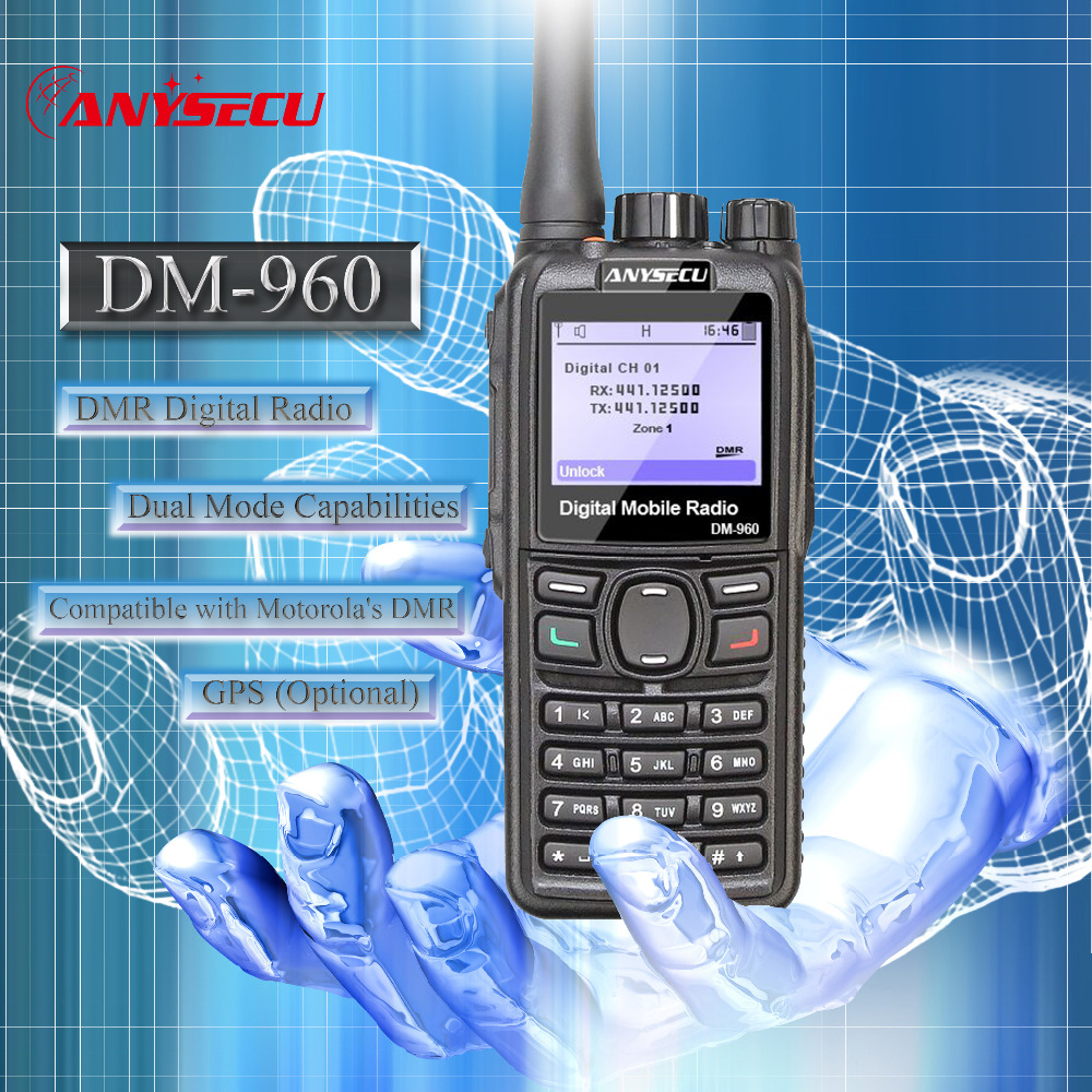 Dual Mode TDMA digital Analog DMR Radio Anysecu DM 960 UHF 3000mAh Compatible with MOTOTRBO better