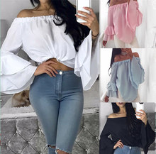 Sexy Off Shoulder Blouses Women Solid Flare Sleeve White Tops Blouse Mujer Slash Neck Summer Blusas De Verao