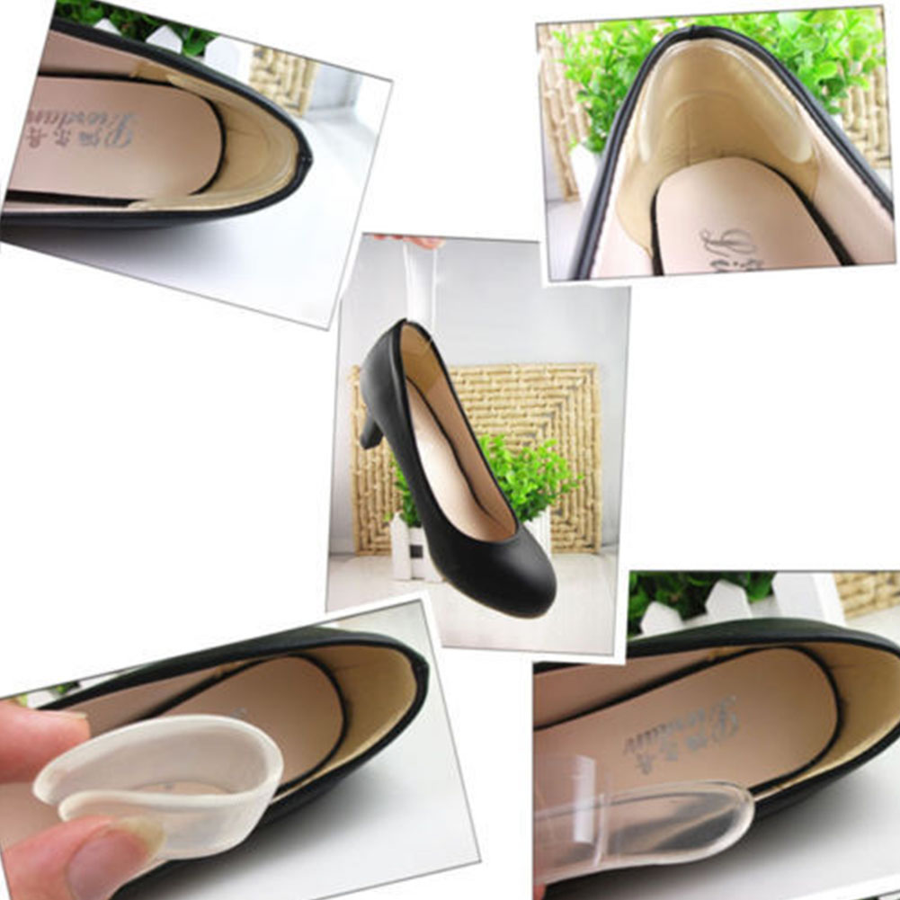 9.5X2.5CM Transparent Silicone Back Heel Liner Gel Cushion Pads Insole High Dance Shoes Grip Anti-friction Foot Care Insole