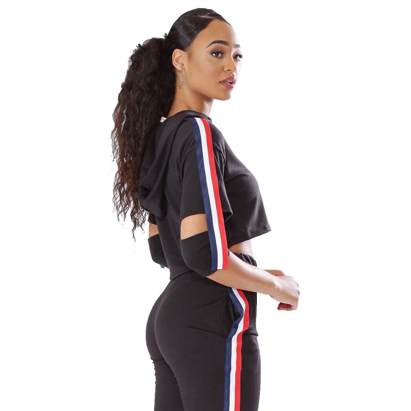 Hole 2 Piece Sets Women Tracksuit Casual Sweat Pants Stripe Hooded Cropped Sweatshirt Hoodie Long Pants Tops Suit Womens Set