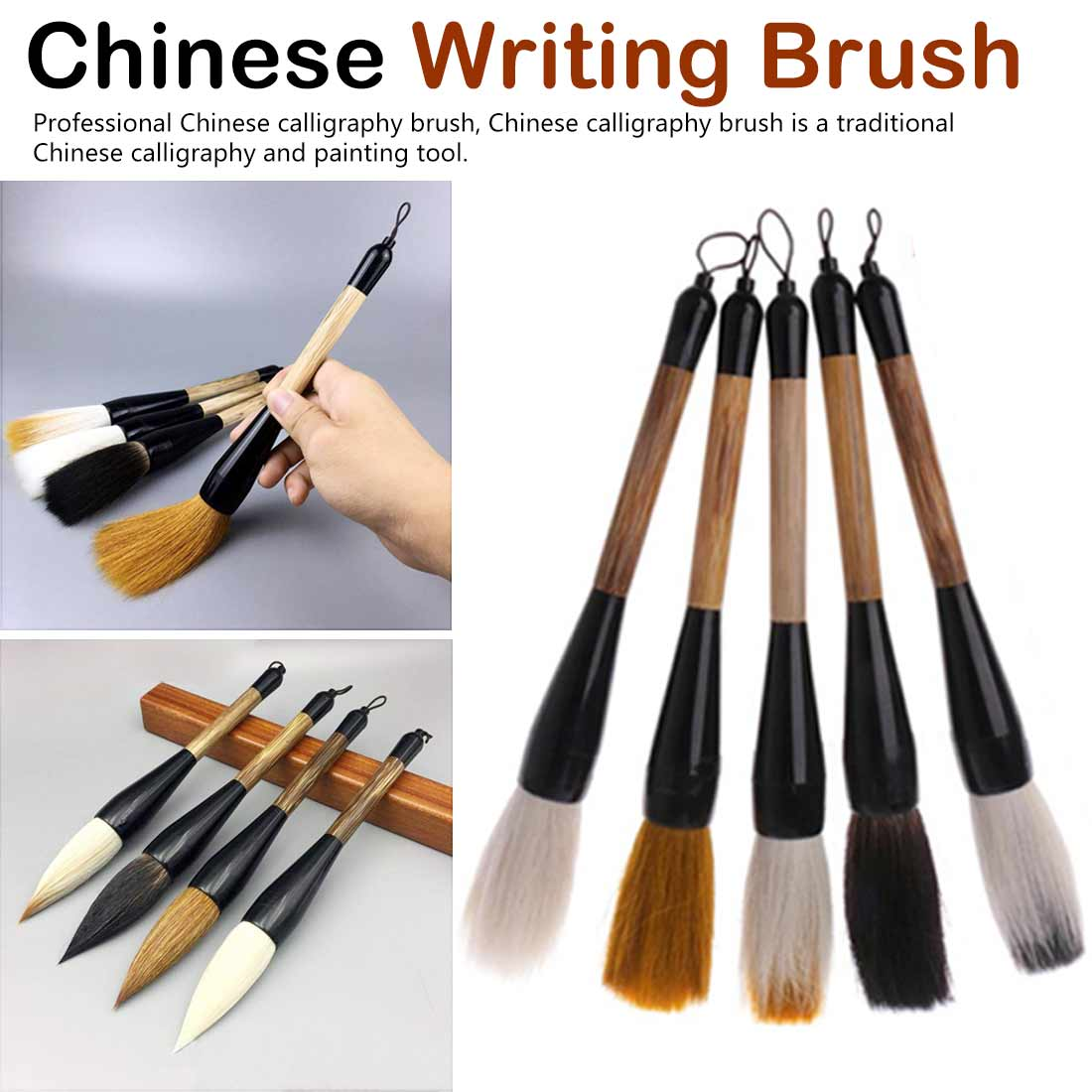 5 Styles Chinese Oil Painting Brush Calligraphy Brush Pen Goat Hair Bamboo Shaft Paint Brush Art Stationary