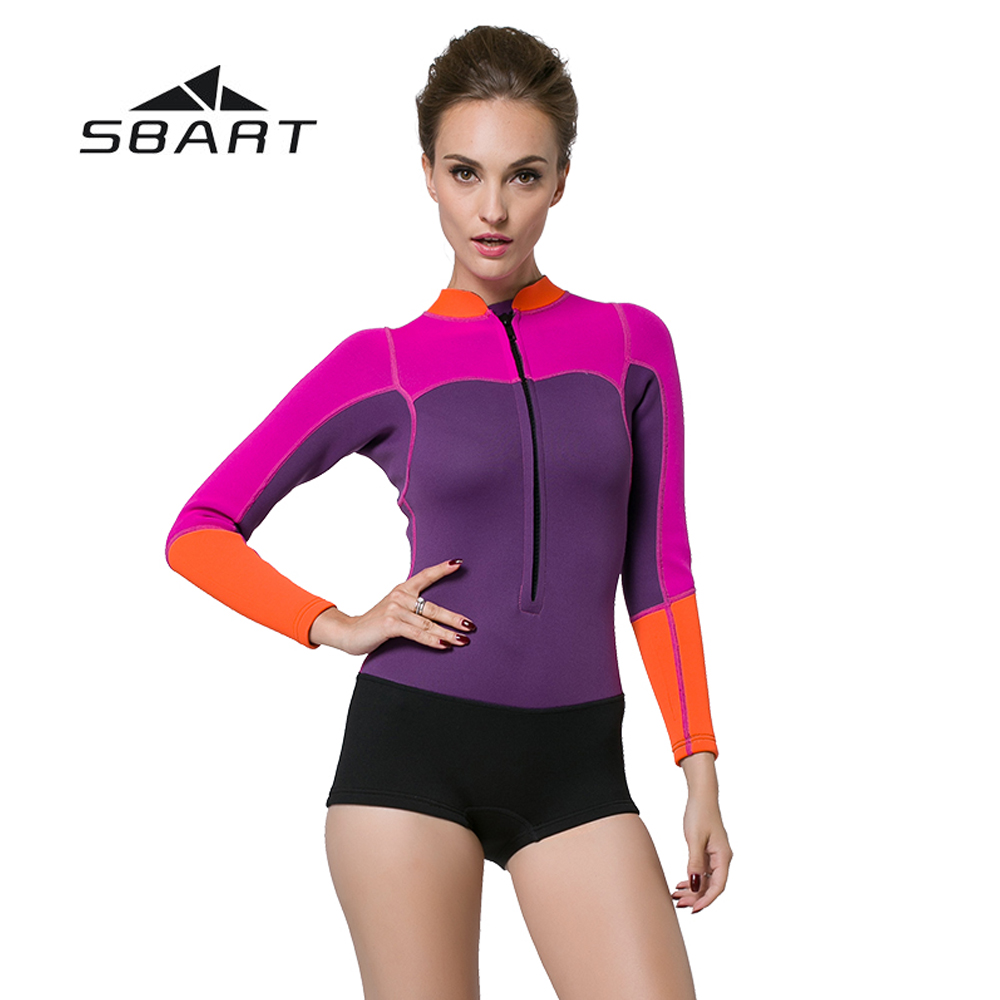 SBART 2mm Neoprene Women Diving One-Piece Suit Kite Surfing Snorkeling Jumpsuit Shorty Wetsuit Swimming Windsurfing Swimsuit women 1 5mm neoprene professional heated wetsuit vest one piece sleeveless swimming diving vest surfing snorkeling wetsuit