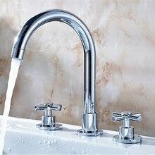 Pokład Zamontować Powszechne Bathroom Sink Mixer Kran Podwójne Uchwyty Basin Kran Chrome Finish