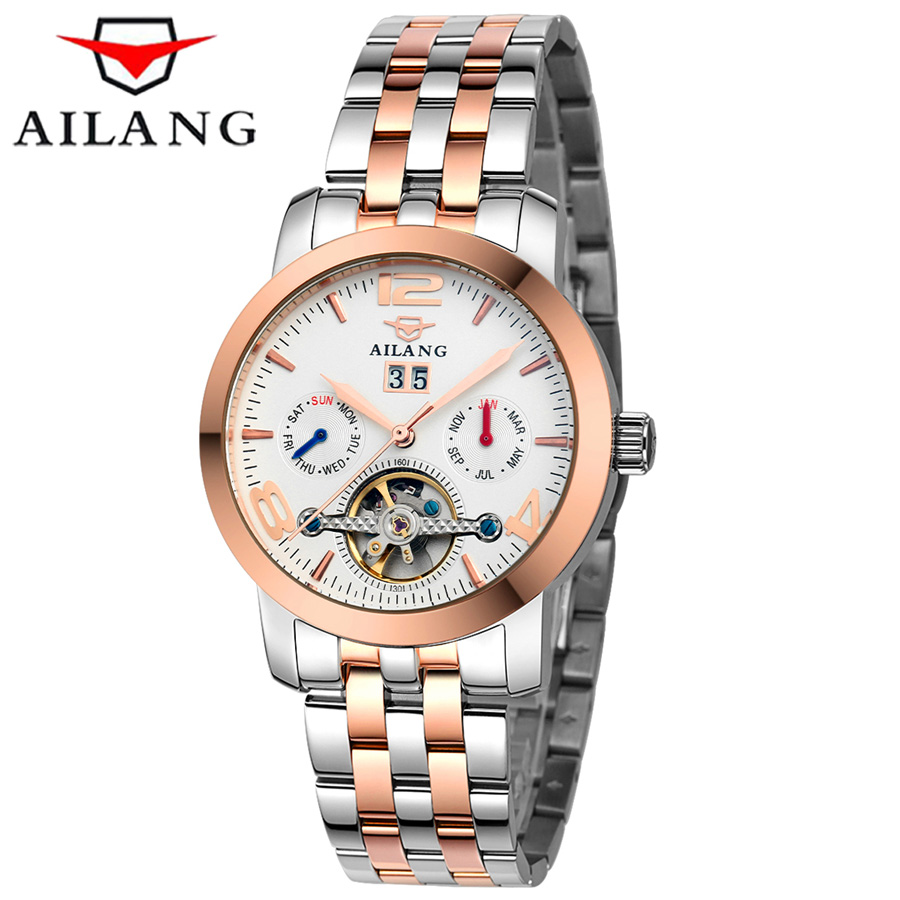 2016 Mens Watches Top Brand Luxury AILANG Sport Mechanical Watch 50M Waterproof Gold Clock Men Tourbillon Automatic Wristwatch 2017 men watches luxury top brand sekaro sport mechanical watch gold clock men tourbillon automatic wristwatch with moon phase
