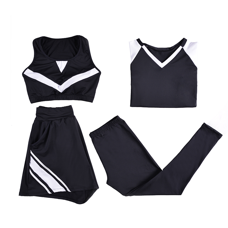 2018 New Women Yoga Set Lady Gym Clothing Black T-shirt+Bra+Shorts+Pants Fitness Running Breathable Large Size L-4XL Sport Suit bar iii new black beige chevron striped women s size large l knit top $39