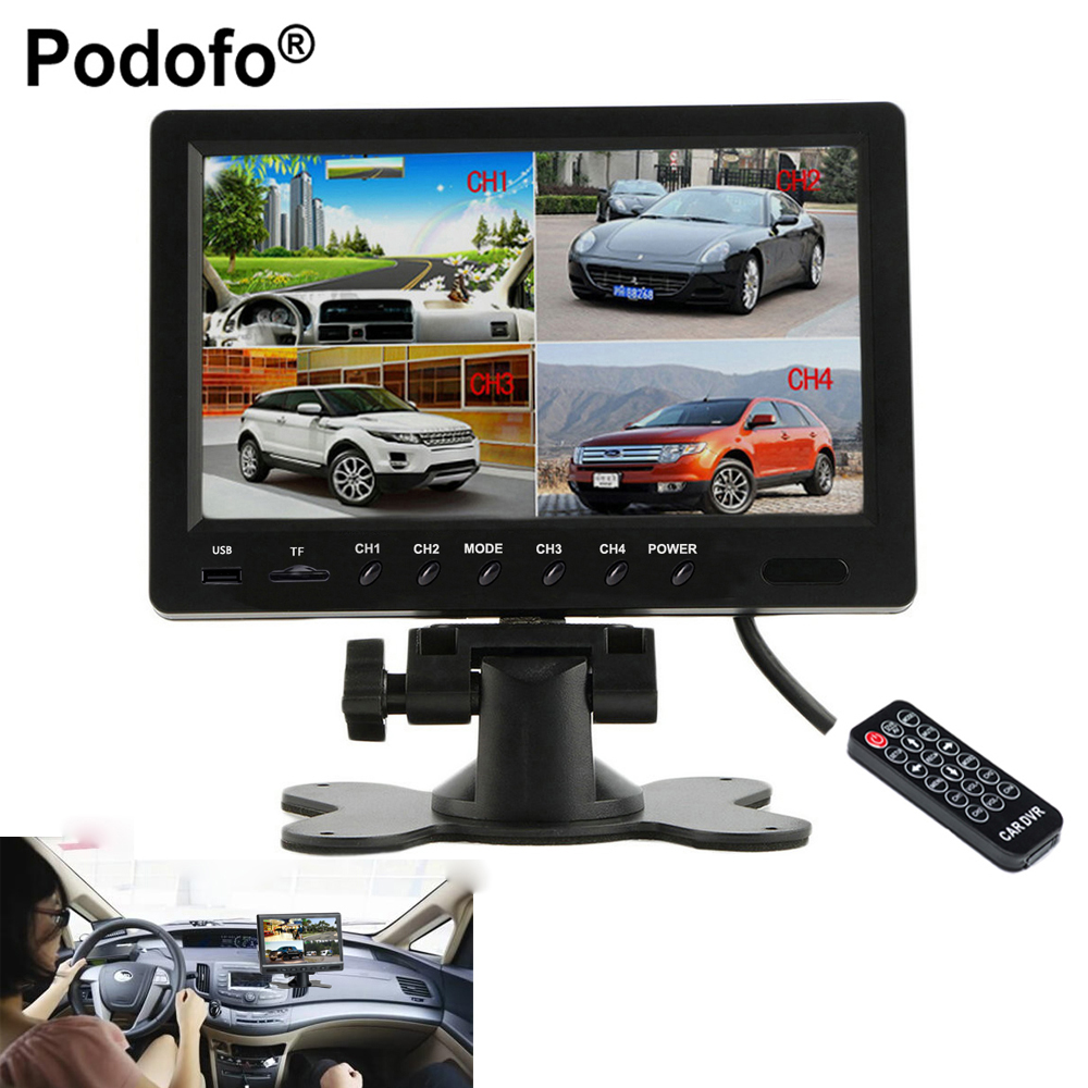 Podofo 9 Split Screen Quad Monitor 6 Mode Display Car Backup Monitor Support Micro SD Card DVR Record  Rear Side View Camera intelligent quad channel car camera video recorder dvr for rear front side view camera four split screen with remote controller