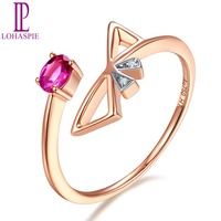 LP Solid 9K 10K 14K 18K Rose Engagement Rings Gold Natural Gemstone Ruby Fine Diamond Jewelry Customized For Women