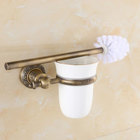 Free Shipping Wholesale and Retail High end Carving Wall Mounted Toilet Cleaning Brush Antique Brass Toilet Brush Holder 779420