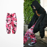 2017 New Bib Overall Pants High Street Military Camouflage Pink Grey Color Pants Hip Hop Punk