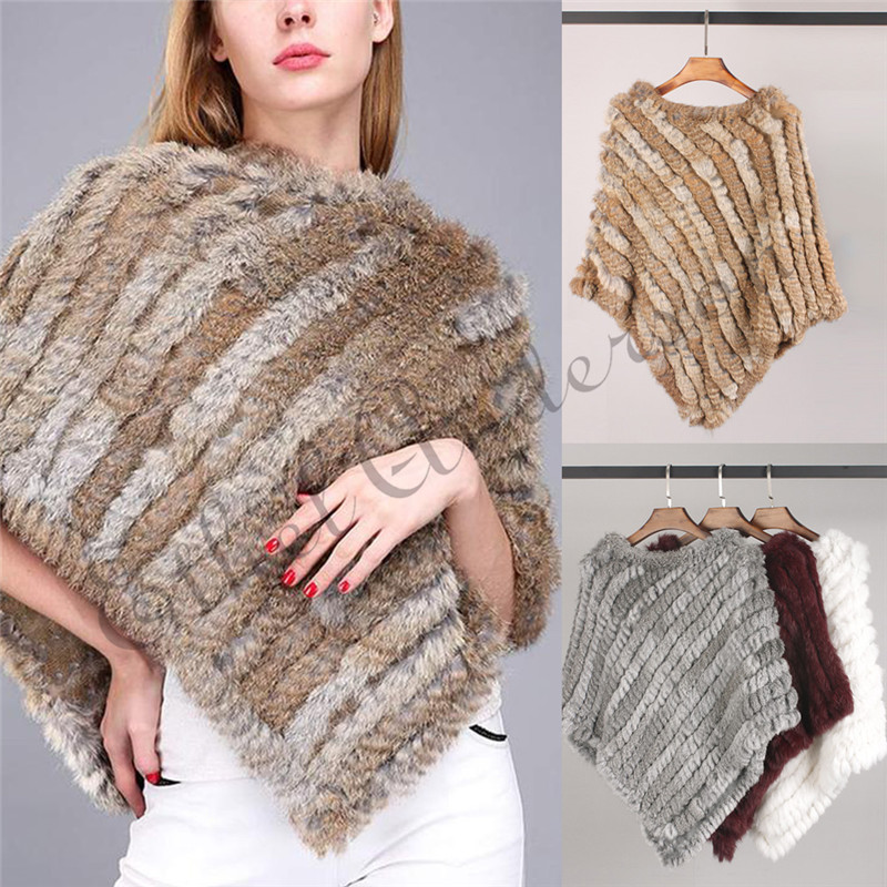 ETHEL ANDERSON Newly Design Knitted Genuine Rabbit Fur Poncho Vogue Vest Wrap Coat Shawl Elegant Top Wedding Casual Best Price