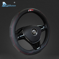 Airspeed 38CM R Line Leather Car Steering Wheel Covers Decor For Volkswagen Polo VW Passat B5