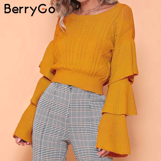 BerryGo Elegant layered flare sleeve winter knitted sweaters Women 2018  autumn fashion pullovers girls tops knitwear 989e18ea1748