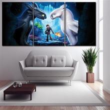 Modern Wall Children Room Home Decor Artwork 3 Panel Movies How to Train Your Dragon The Hidden World Poster Canvas Art Print