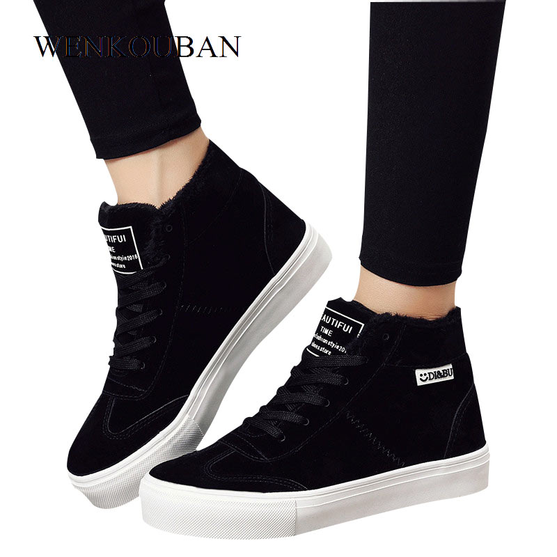 Fashion Women Snow Boots short plush shoes Female Sneakers Martin Suede Winter Ankle boots Lace Up Botas Casual Zapatos Mujer