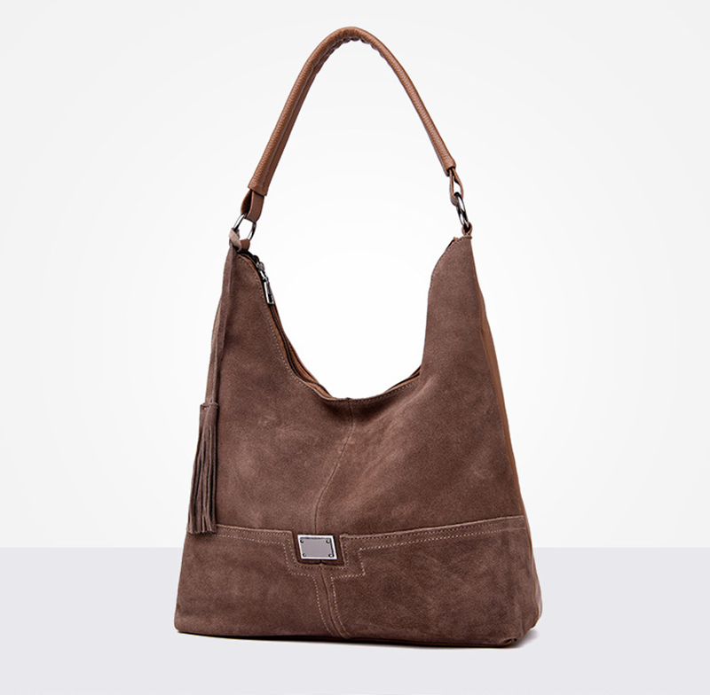 Women's Handbags Hobo Suede Leather Shoulder Bag Female Tassel Casual Tote Hand Bags Crossbody Leather