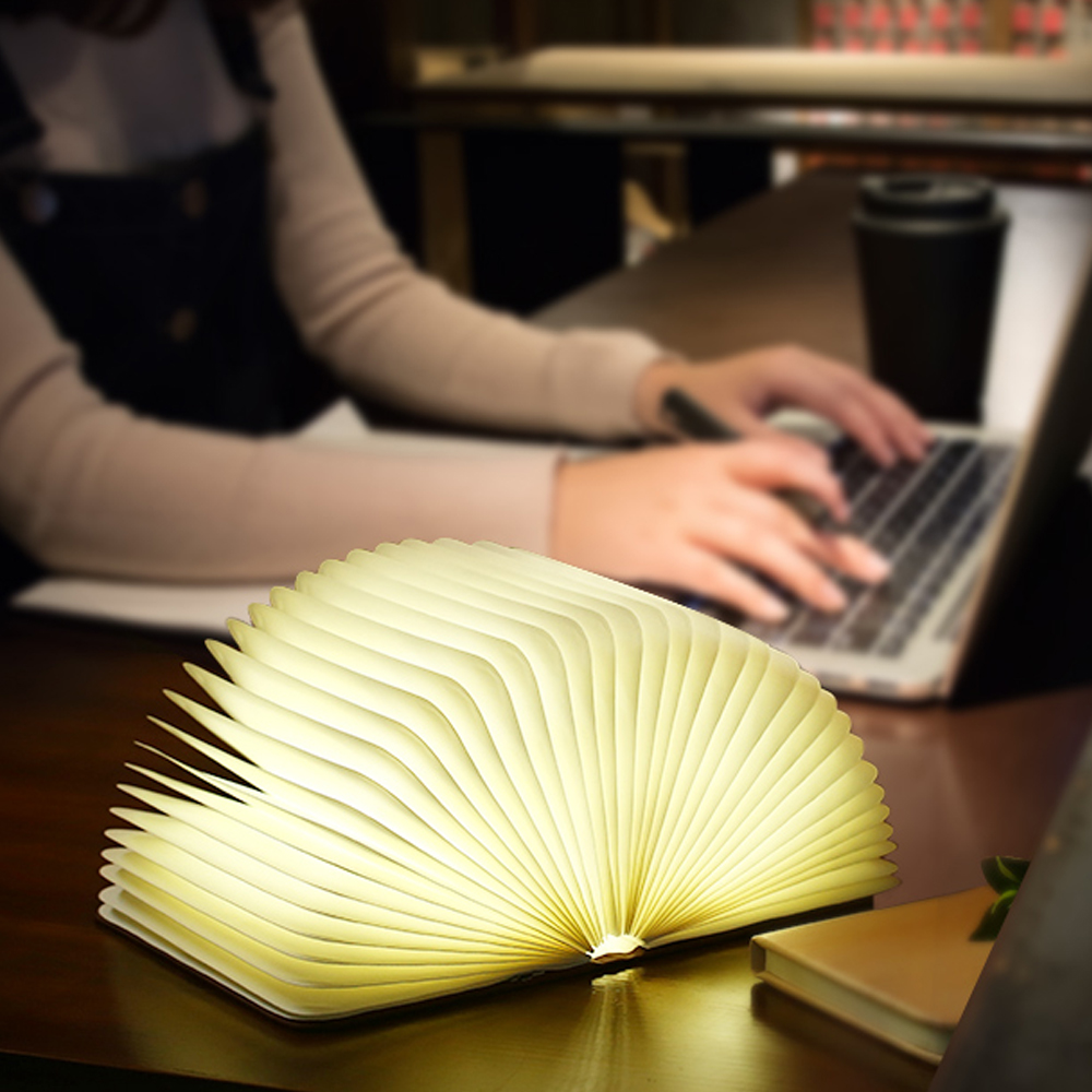 Rechargeable Folding Book Light Wooden Light Book Lamp Led Folding Wooden Book Figurines Bedroom Valentines Day Decoration Craft (7)