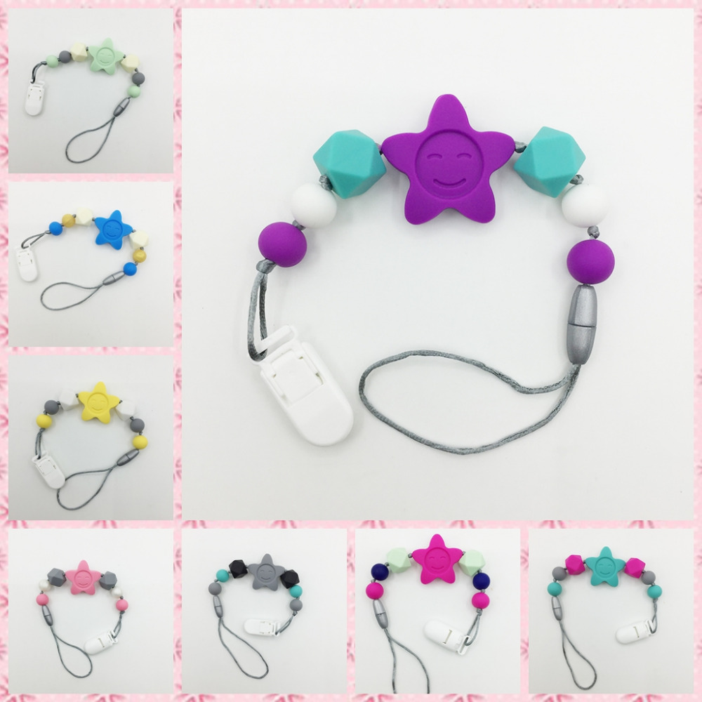 New star Silicone Pacifier Clip - Sunflowers Silicone Teething Baby Silicone Beads Holder for Girl/Unisex (Rainbow Fun)