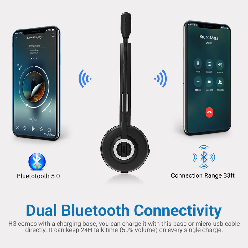 Image 5 - Langsdom H3 Office Bluetooth Headphone Hands Free Skype Headset 