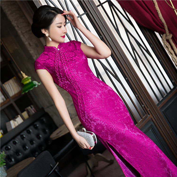 Novelty Fashion Red Women S Long Cheongsam Top Selling Chinese Female Lace Qipao Dress Vestidos Size