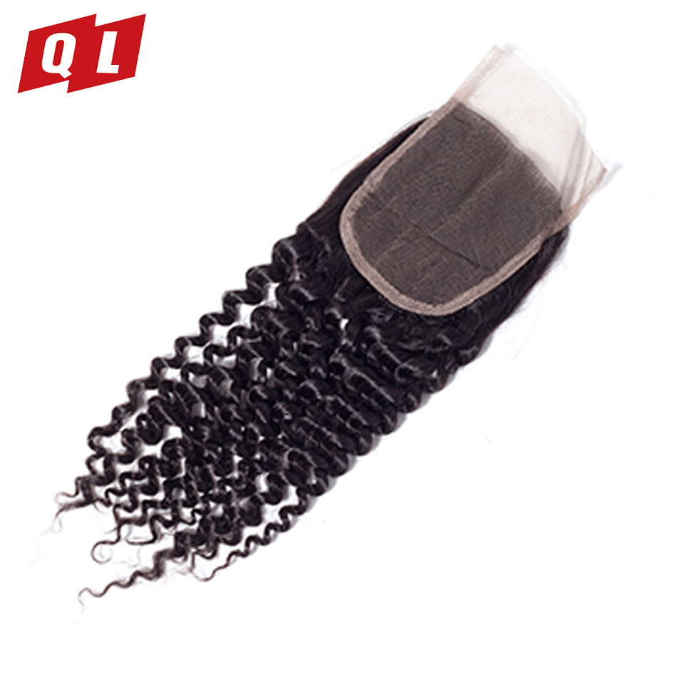 QLOVE HAIR Malaysia Kinky Curly Hair 100% Non Remy Natural Color Bundles With Closure Human Hair 3 Bundles With 4*4 Lace Closure-in 3/4 Bundles with Closure from Hair Extensions & Wigs    2