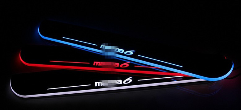 Waterproof Ultrathin Acrylic Car LED Welcome Light Scuff Plate Pedal Door Sill For Mazda 6 2013 2014 2015,  front door sill sports car door sill scuff plate guard sills for 2014 mazda 6 atenza m6