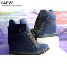 Hot Fashion All kinds of Colour Cow Suede Ankle Shoes Lace-Up Round Toe Height Increasing Womens Platform Big Size Boot