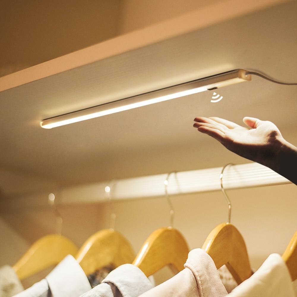 30/40/50cm Under Cabinet Light Hand Wave Sweep LED Rigid Strip Bar Light DC 12V EU Adapter Kitchen Lights Kid Bedside Night Lamp(China)