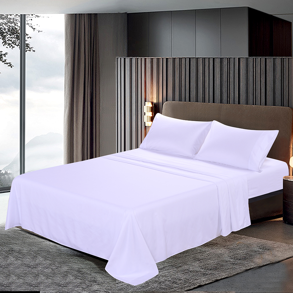 Bedding Set 4 Pcs Bed Sheet Set Soft Brushed Microfiber Bed Linen Set Bedding Flat Sheet + Bed Cover + 2pcs Pillowcase 2 Size