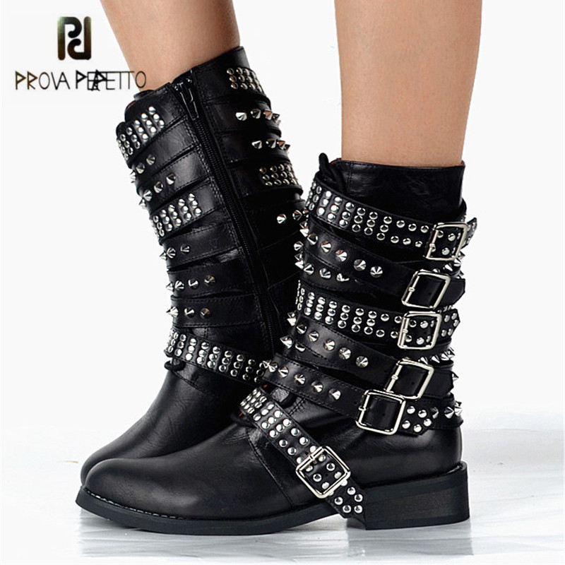 Prova Perfetto Black Rivets Studded Women Martin Boots Straps Genuine Leather Flat Ankle Boots Platform Rubber Shoes Botas Mujer prova perfetto black ankle boots for women rivets studded flat autumn botas mujer genuine leather platform rubber martin boots