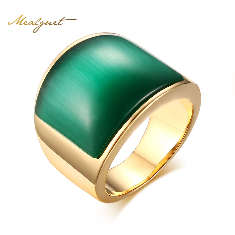 Meaeguet Fashion Women Big Stone Wedding Rings Jewelry Stainless Steel <font><b>Green</b></font>&Brown Stone Rings for Women Party Jewelry