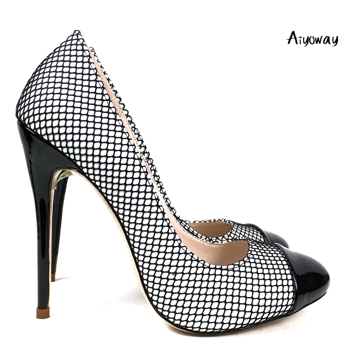 Aiyoway 2019 New Fashion Women Shoes Round Toe High Heels Pumps Black Mesh Stiletto Ladies Wedding Party Sexy
