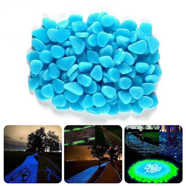 Blue Green Luminous Stones Glow in Dark Garden Decor Road Outdoor Fish Tank Decoration Pebble Rocks Aquarium 100pcs  H1129
