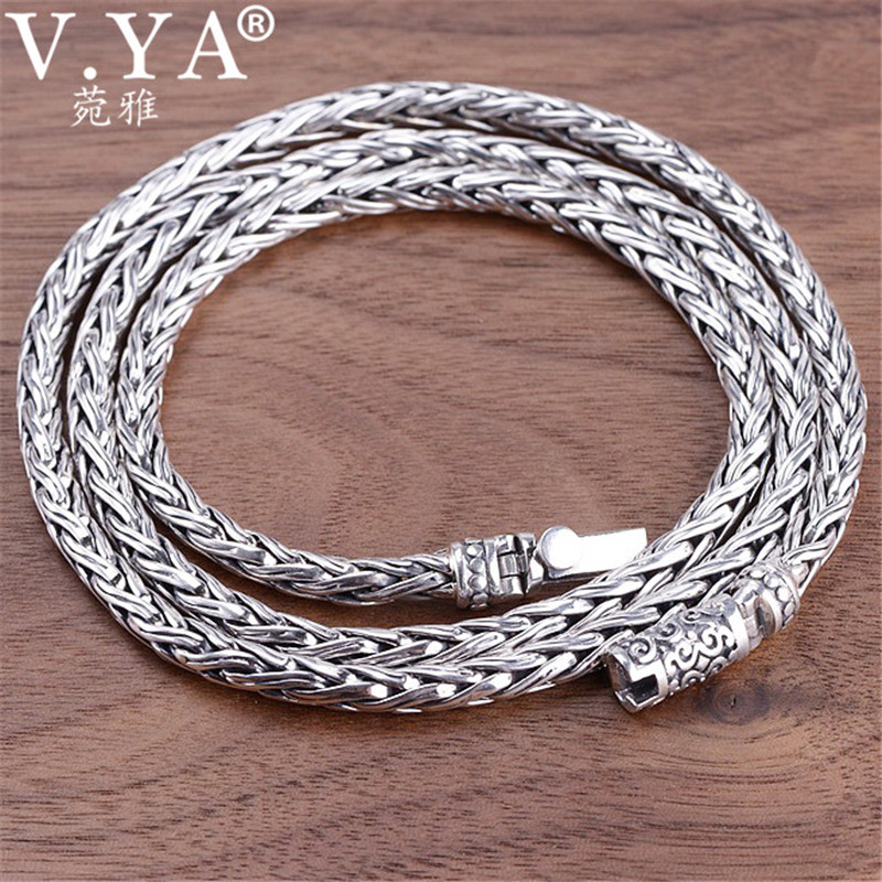 V.YA 4MM Mens Heavy Necklace Handmade 925 Sterling Silver Men Chain Necklaces Weave Shape Silver Jewelry 55cm 60cmV.YA 4MM Mens Heavy Necklace Handmade 925 Sterling Silver Men Chain Necklaces Weave Shape Silver Jewelry 55cm 60cm