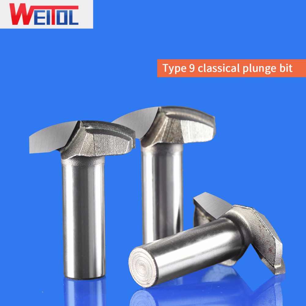 WeiTol 1 pcs classical plunge bit tungsten carbide wood router bit CNC machine tools milling cutter for cutting MDF