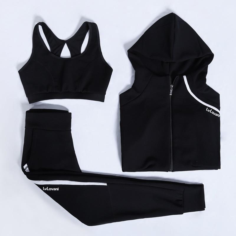 Nuevas mujeres Yoga Conjunto 3 unids manga larga cremallera Chaquetas Sports BRA fitness ropa deportiva transpirable jogging femenino Correr gimnasio ropa - 2